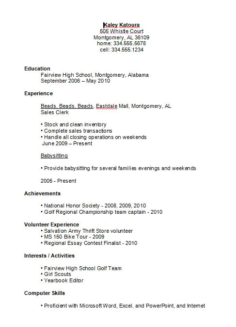 Example of a High School Student Resume for a First